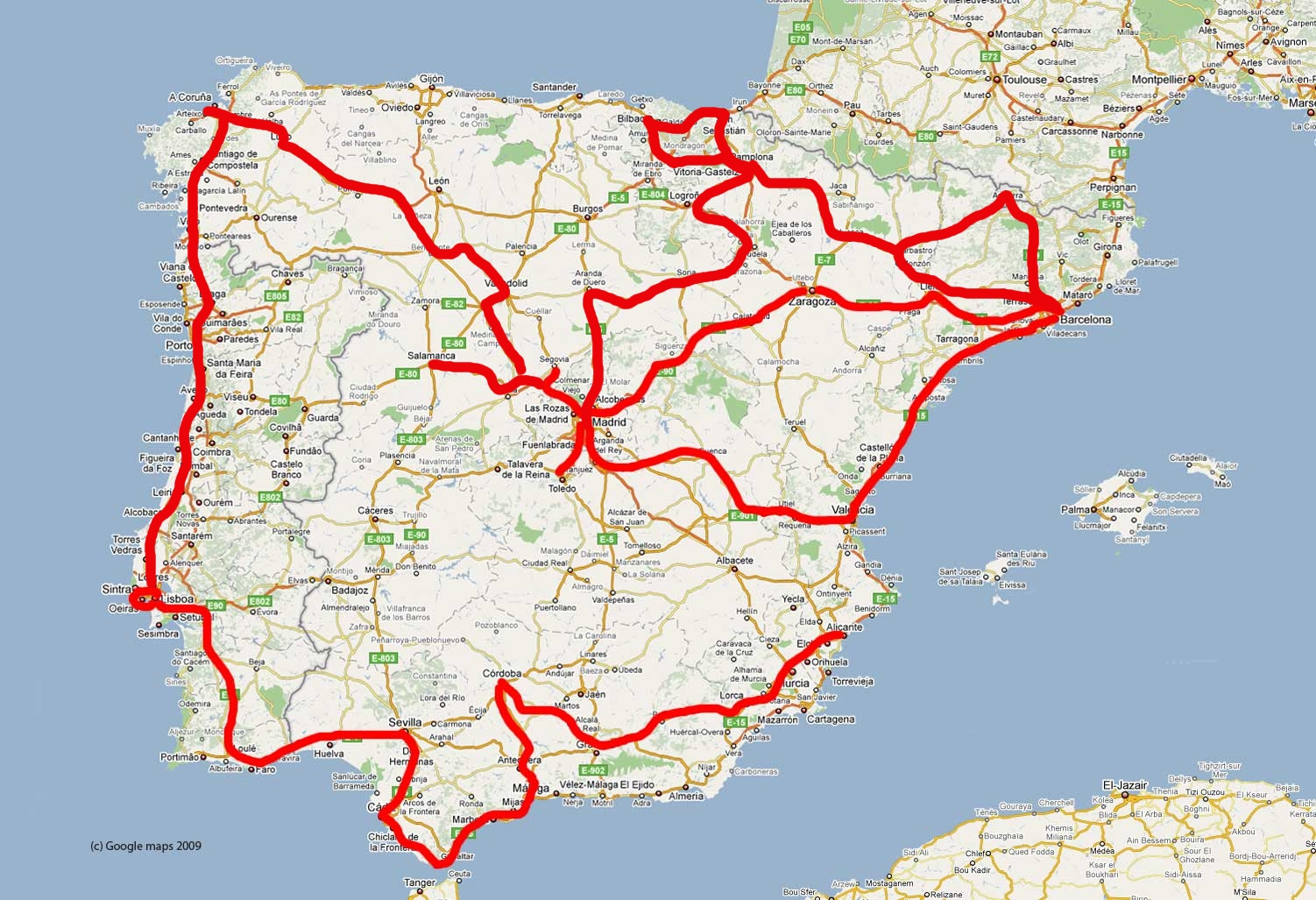 Here are the routes I have had traveling round Iberia